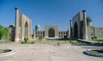 Timur's Registan noblest public square in the world - The Registan in Samarkand. The result of the coming together of craftsmen and builders from across the empire. Photograph Alamy via The Guardian