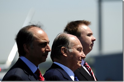 Dr. Mahmoud Eboo (left), the president of Ismaili Council for the United States; The Aga Khan; and Chris Young, director of International Affairs for the state Department of Economic Development