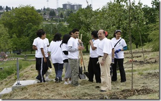 Commissioner Allan De Genova with Ismaili Youth at the Tree Planting Event