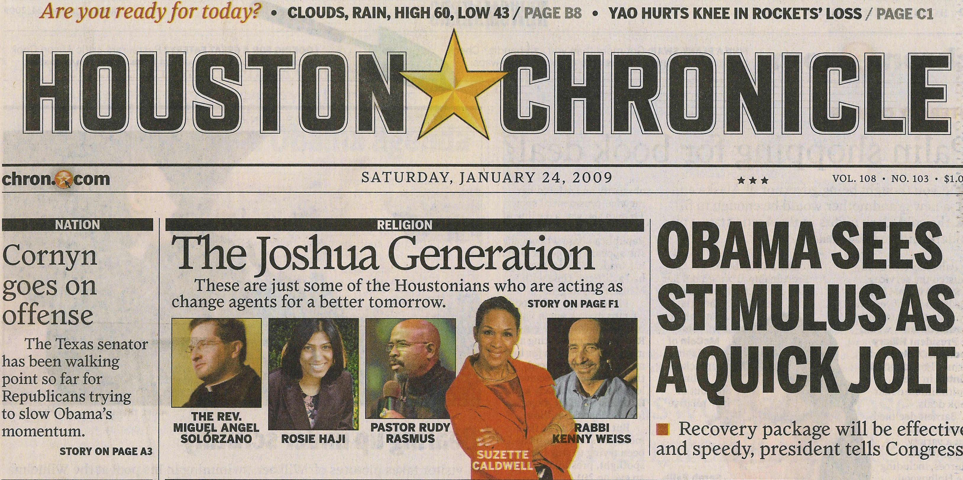Houston Chronicle recognises The Joshua Generation ...