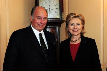 His Highness the Aga Khan meeting with The Honorable Hillary Rodham Clinton, United States Secretary of State, at the State Department.