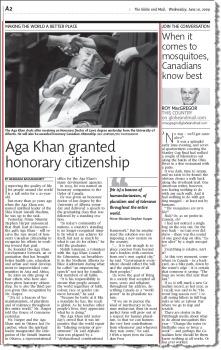 Aga Khan-TheGlobeAndMail_10June2009