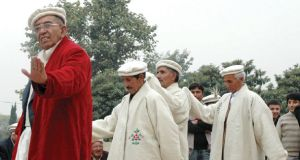 Wakhi leaders in traditional dance for Wakhi festival