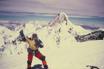 Ali Musa On The Summit Of Broad Peak (8047m) With Background k-2