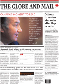 His Highness the Aga Khan on the Globe and Mail front page