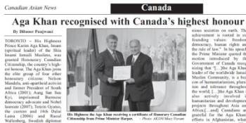 Aga Khan recognised with Canada's highest honour