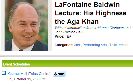 LaFontaine Baldwin Lecture: His Highness the Aga Khan