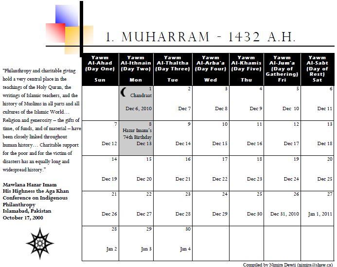 Muslim Calendar for the year 1432 A.H.