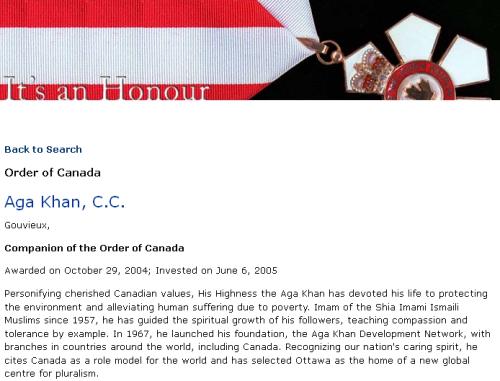 Order of Canada Aga Khan, C.C.