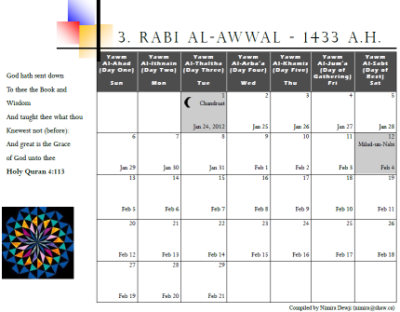 Muslim Calendar For The Year 1433 A H Ismailimail