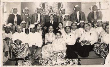 Mawlana Hazar Imam with the Burmese Jamat, Photograph Nazir Alimohammad and family, 1960 Burma
