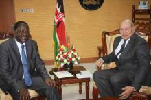 Prime Minister Raila Odinga meets Mr. Aziz Bhaloo, Resident Representative from Aga Khan Development Network