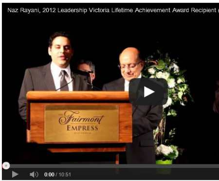 Naz Rayani, 2012 Leadership Victoria Lifetime Achievement Award Recipient