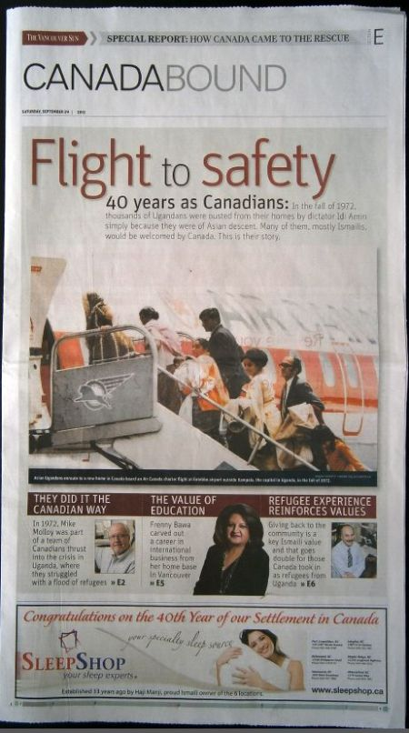 Print Edition of Vancouver Sun's Feature: Canada Bound: Flight to Safety - 40 years as Canadians