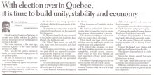Sultan Jessa Opinion: Quebec Elections - What now?