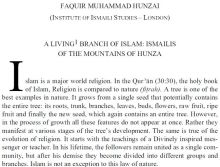 A Living Branch of Islam - Ismailis of the Mountains of Hunza, by Dr Faquir M. Hunzai