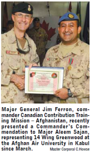 Major Aleem Sajan receives Commander's Commendation upon ending his tour in Kabul