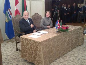 Premier of Alberta Canada and His Highness the Aga Khan sign an Agreement of Cooperation