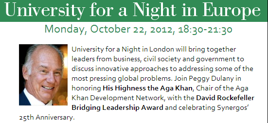 University for a Night in Europe honoring His Highness the Aga Khan