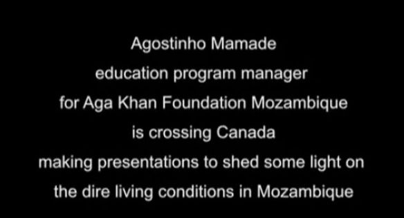 Agostinho Mamade, Education Program Manager for the Aga Khan Foundation Mozambique speaks on living conditions in Mozambique