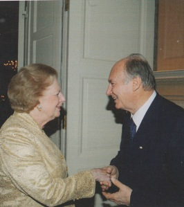 His Highness the Aga Khan, 49th Ismaili Imam and direct descendant of the Prophet Muhammad, warmly greeting Baroness Margaret Thatcher at the banquet hosted by His Highness in London on July 3, 2008 during his Golden Jubilee Celebrations. Photo: Mawlana Hazar Imam Shah Karim Al Hussaini Aga Khan, Golden Jubilee Souvenir, published by Islamic Publications Limited. 2012. Copyright.