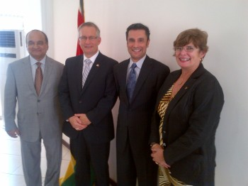 (from left to right) AKSA Chairman, Nurdin (Dinu) Samji; Honourable Ed Fast, Minister of International Trade; AKSA President, Kamaal Samji; Canadian High Commissioner to Ghana, HE Trudy Kernighan