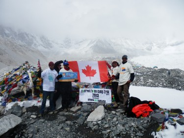 Everest base camp with guides