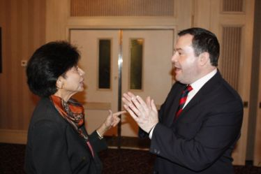 Mehrun (Mary) Hassanali with Jason Kenney MP for Calgary SE & Minister of Citizenship, Immigration & Multiculturalism