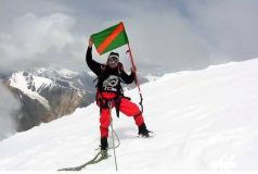 Samina Baig Ismaili Flag on Everest