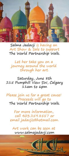 Salma Jadavji is hosting an Art Show to Support World Partnership Walk