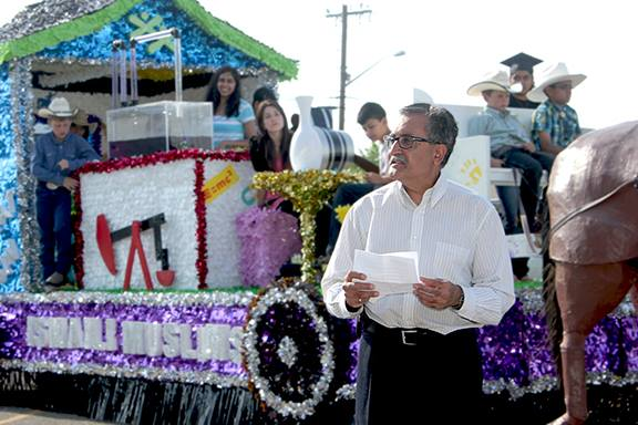 Mohammed Zaver, President of the Isamaili Council for the Prairies, gave a speech during the unveiling of the Stampede parade float