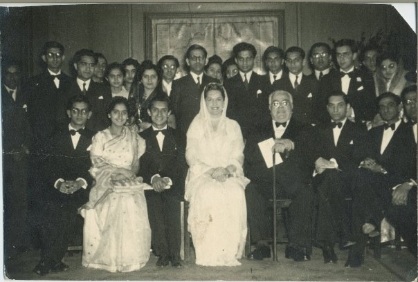Mawlana Sultan Muhammad Shah and Begum Om Habibeh with students from the UK Ismaili Students Association, 1946. My father, Rehmtulla Velshi Keshavjee, then the Treasurer, is sitting to the left of MSMS. Jimmy Verjee, Lord Rumi Verjee's father, is sitting to the left of Begum Om Habibeh.