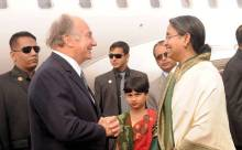Prince Karim Aga Khan arrives in Dhaka