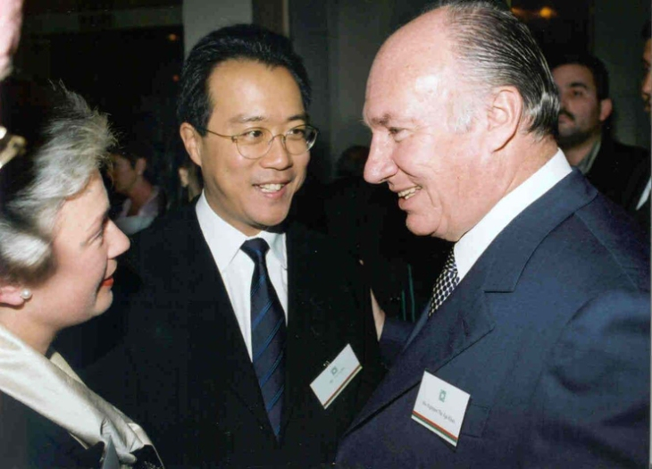 November 2001 His Highness the Aga Khan (right) with Yo-Yo Ma (centre) and Catherine Gevers (left), a Member of the Board of the Silk Road Project, Inc.