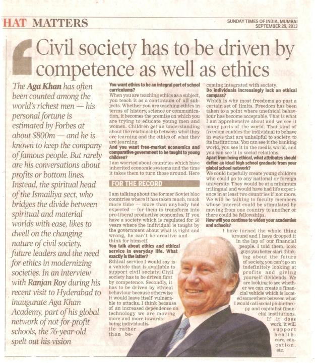 Sunday Times of India: Interview with His Highness the Aga Khan