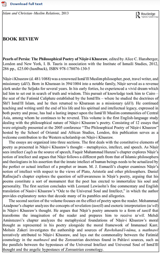 Book Review by Khalil Andani: Pearls of Persia: The Philosophical Poetry of Nāṣir-i Khusraw
