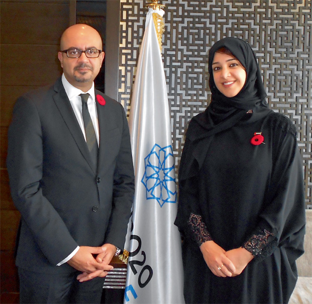 CONNECTING MINDS... Canadian Ambassador Arif Lalani with Reem Al Hashemi (image credit: Khaleej Times)