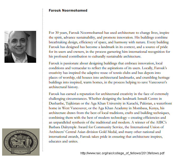Farouk Noormohamed: Royal Architectural Institute of Canada (RAIC) - College of Fellows 2013