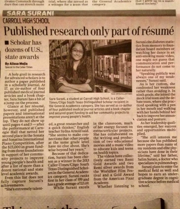 Sara Surani: Published research only part of resume - Scholar has dozens of U.S. state awards