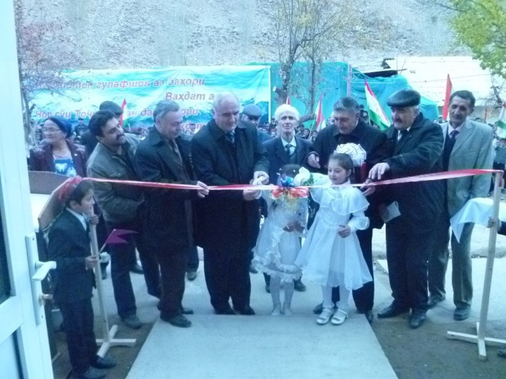 Khidorjev, November 13, 2012. Official opening of the Khidorjev ECDC (ribbon cutting). many parents, teachers, elder students, guests and representatives from the GBAO/Regional and Roshtqala District Government participated in this ceremony.