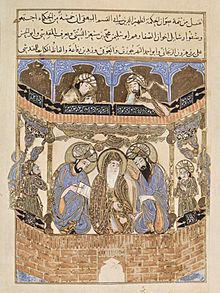 Arabic manuscript illumination from the 12th century CE showing the Brethren of Purity.maqamat al hariri. Source: Wikipeda.