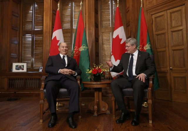 Canada's PM Harper with the Aga Khan during a meeting on Parliament Hill in Ottawa