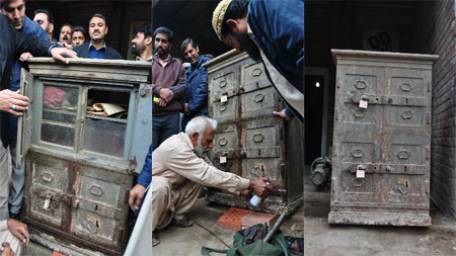 Ancient cupboard excavated from Wazir Khan Mosque