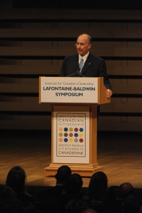 His Highness the Aga Khan delivers the LaFontaine-Baldwin Lecture in Toronto, Canada. His Highness talked about the long history of pluralism, the intensification of these challenges and how best to respond to that challenge. (AKDN / Zahur Ramji)