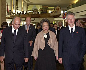 May 19, 2004: His Highness the Aga Khan, Governor General Adrienne Clarkson and Paul Desmarais, Jr, Conference Chair, on their way into the main hall of the Canadian Museum of Civilization where the Aga Khan delivered the key note speech at the leadership conference.