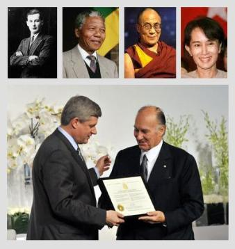 His Highness the Aga Khan among the five in Canada's history to be honoured with the Honorary Canadian Citizenship. Aga Khan/Stephen Harper. Top: Swedish diplomat Raoul Wallenberg (posthumously in 1985); former South Africa president and Nobel laureate Nelson Mandela (2001); the Dalai Lama (2006); and pro-democracy icon Aung San Suu Kyi (2007), a Nobel laureate (Photo: TheIsmaili.org)