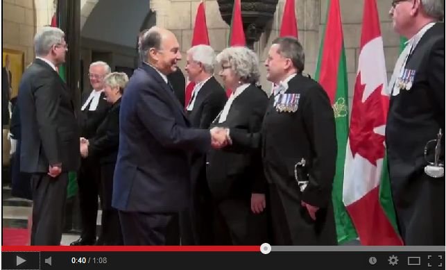 Video: Prime Minister Stephen Harper and his wife Laureen greet His Highness the Aga Khan