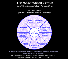 Khalil Andani's Presentation on the concept of Tawhid in the Isma'ili Muslim philosophy of Hamid al-Din al-Kirmani & Ibn al-'Arabi, at University of Toronto