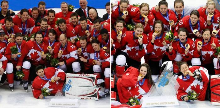 Canada's Men and Women Hockey Teams celebrating and wearing their gold medals in stride – 2014 Winter Olympic Games, Sochi, Russia.