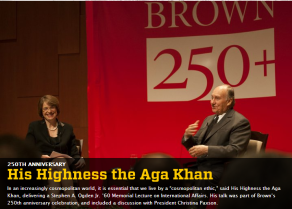 His Highness the Aga Khan. The 88th Stephen Ogden Lecture at Brown University Providence, Rhode Island, USA. March 10, 2014